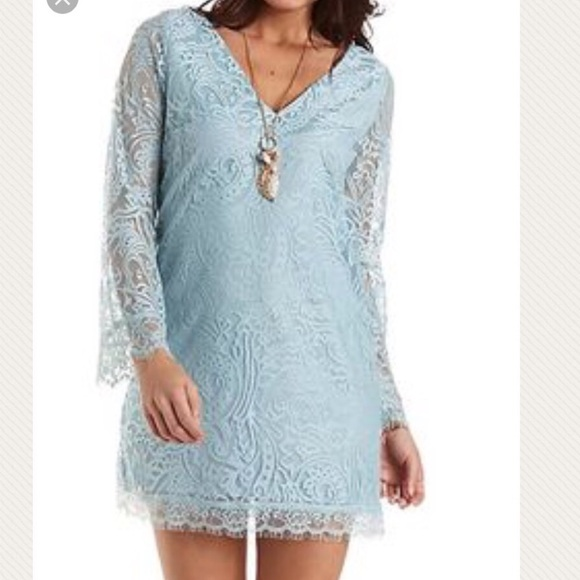 5fd8f472982    Sale   Blue Bell sleeve lace Party dress Large. NWT. Charlotte Russe